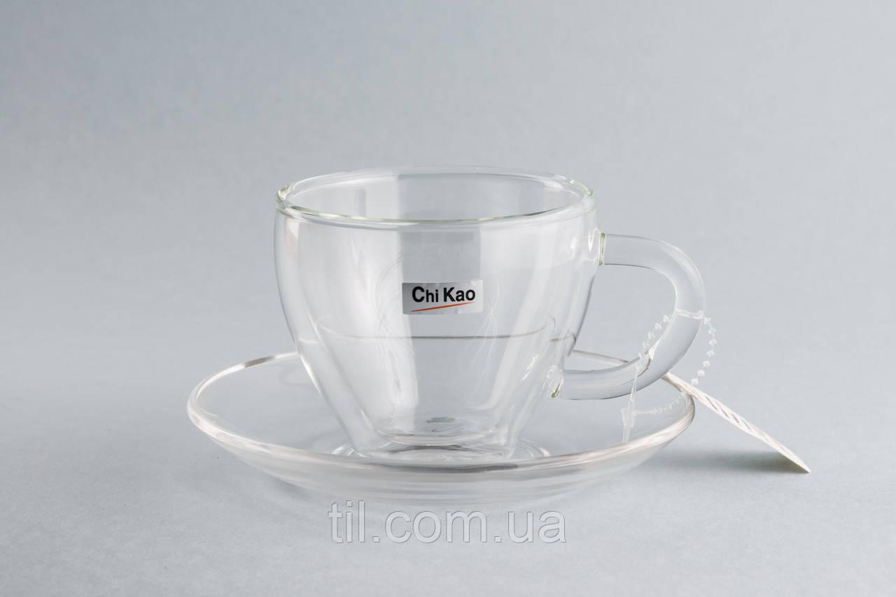 """Стеклянная чашка с двойным стеклом 80мл. и блюдце """"CHI KAO"""""""