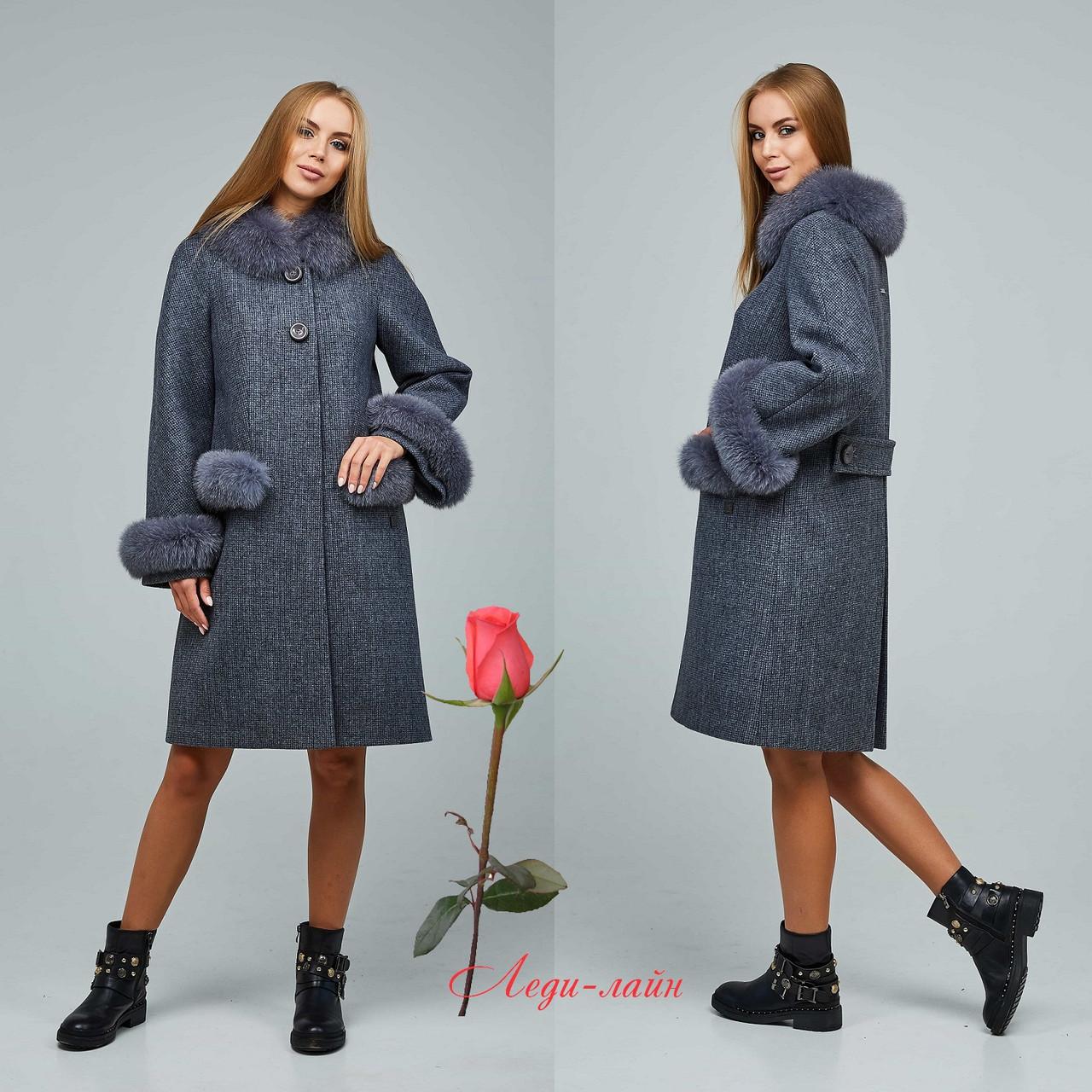 Женское зимнее пальто с натуральным мехом  Ф-П-1205