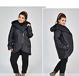 Куртка батал напоминает косуху №1858-1-черный, фото 2