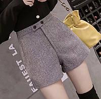 Модные женские шерстяные шорты на талии с карманами.