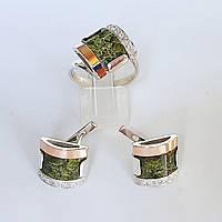 Серебряный комплект кольцо и серьги с золотыми вставками и натуральным змеевиком