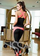 Черные спортивный костюм для фитнеса с розовыми вставками размер S