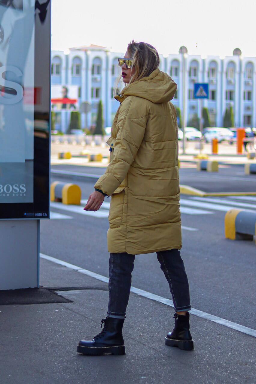 Куртка зимняя женская. Цвет: горчица, бутылка