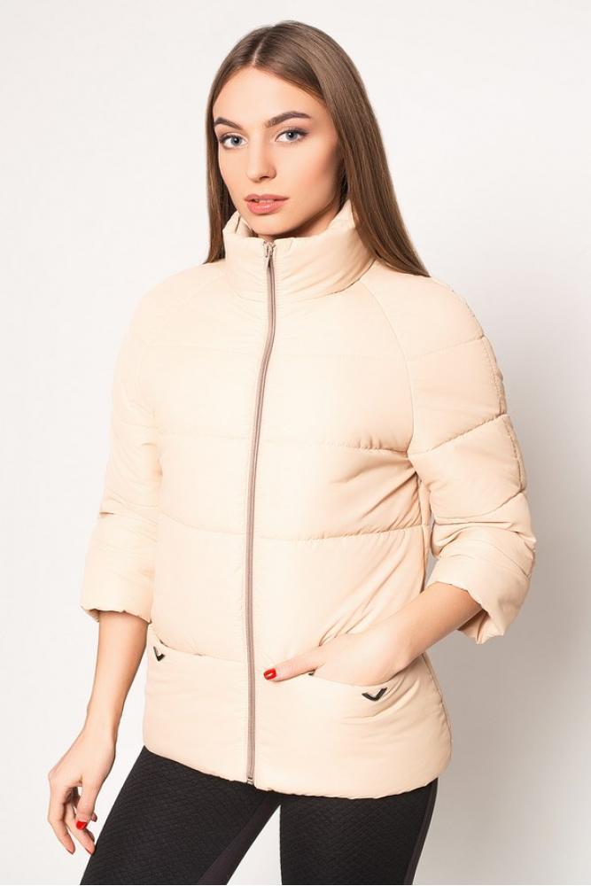 Женская короткая демисезонная куртка бежевая