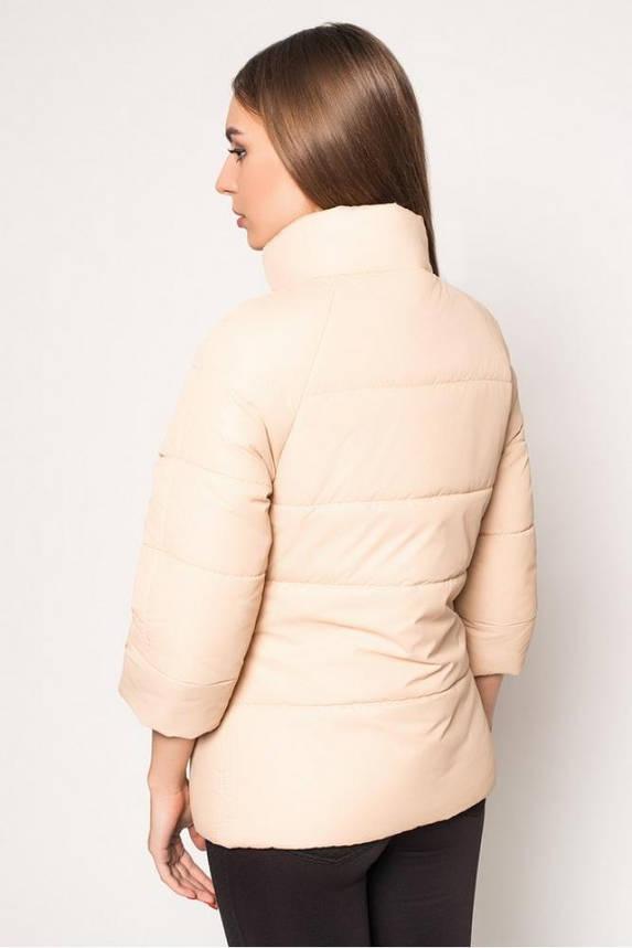 Женская короткая демисезонная куртка бежевая, фото 2