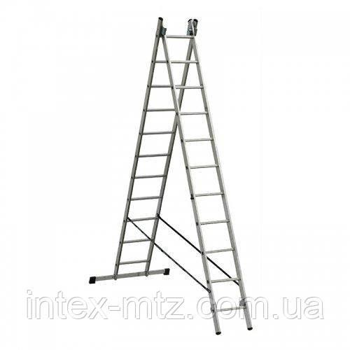 Лестница алюминиевая 2-х секционная Elkop VHR H2x12  - купить со скидкой