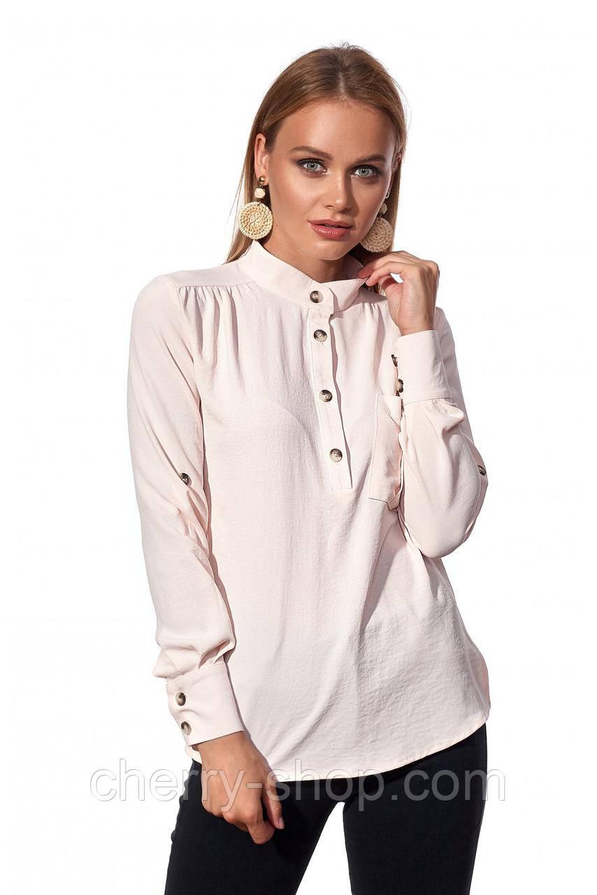 Красивая молодежная рубашка с воротником стойкой