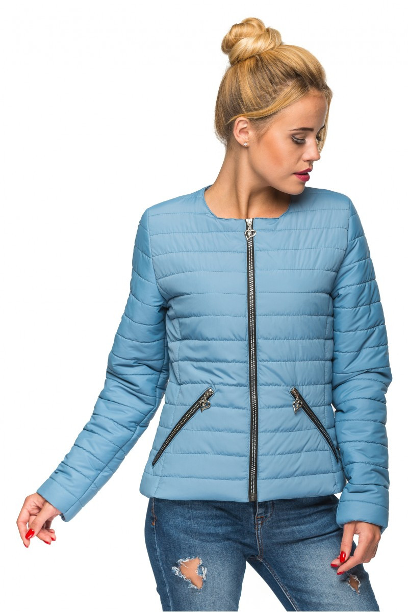 Модная демисезонная куртка Таяна голубой (46-54)