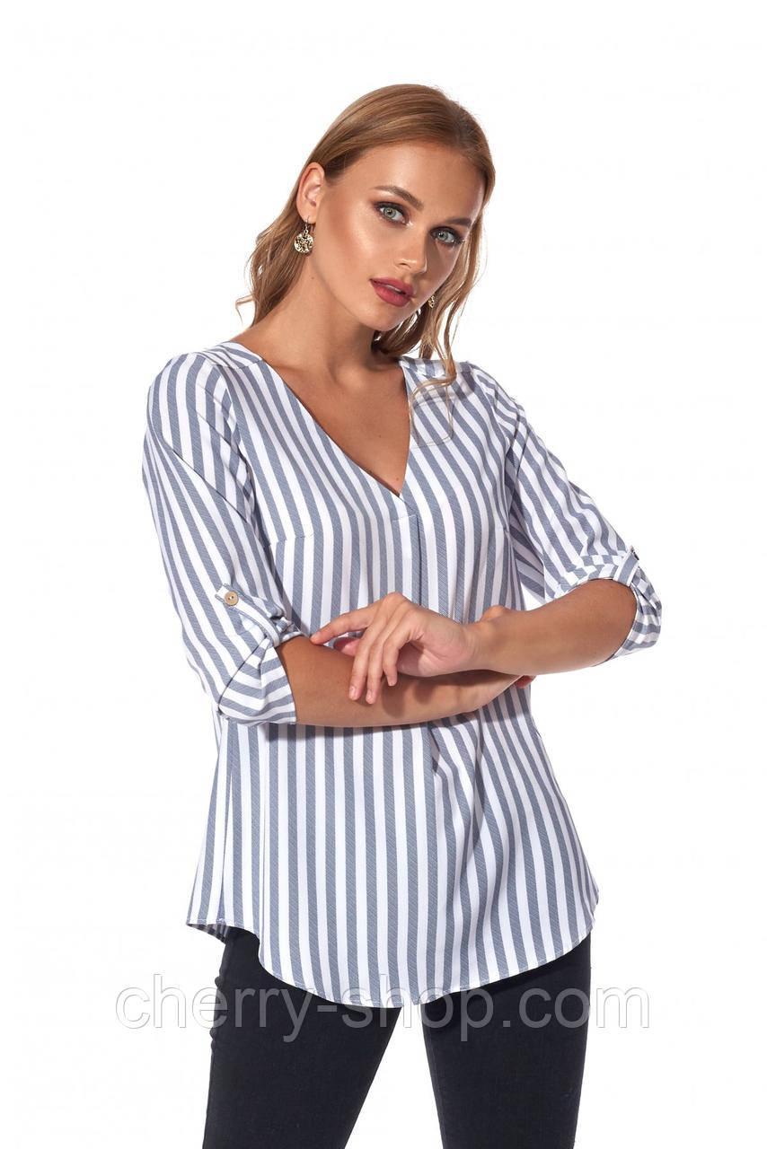 Рубашка свободного силуэта в стильную полоску