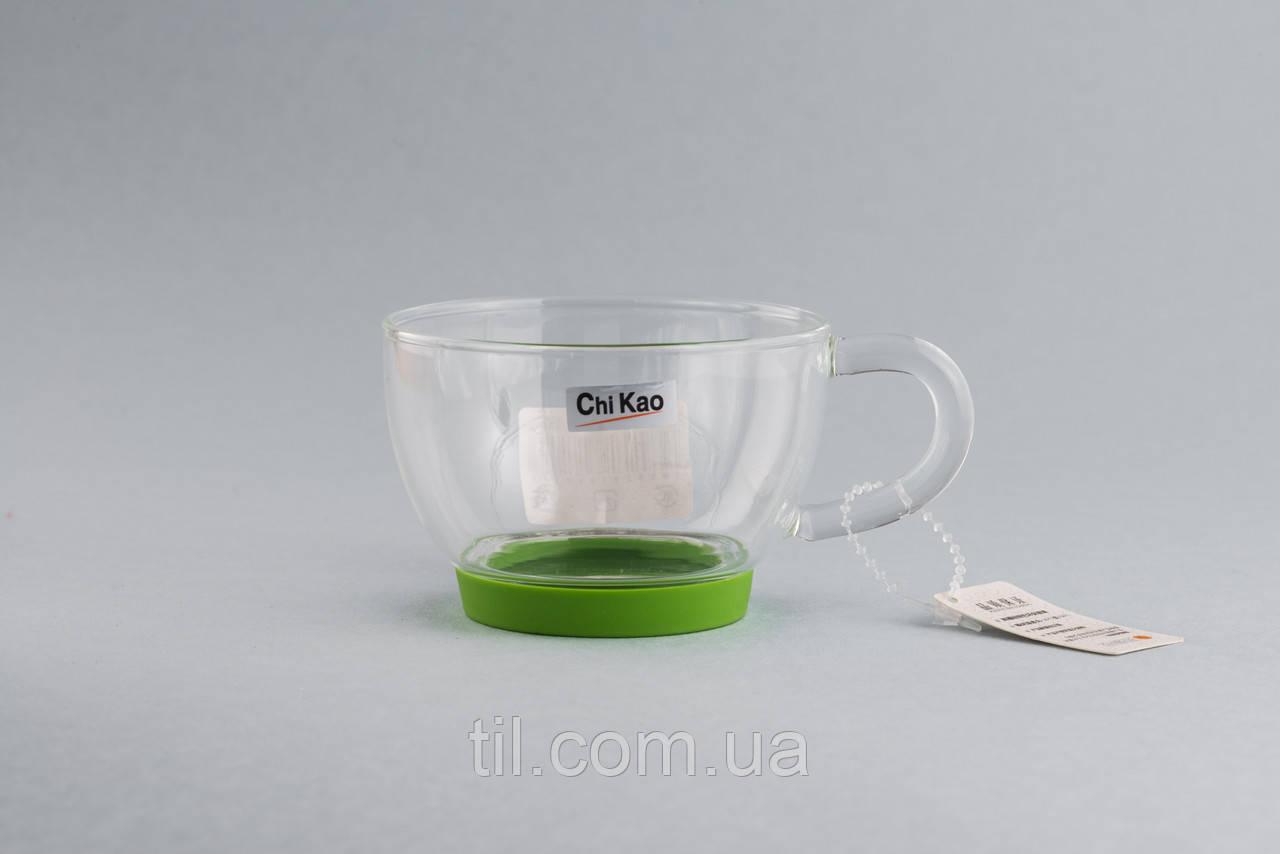 """Чашка  150 мл. с силиконовой накладкой """"CHI KAO"""" (зеленая)"""