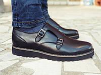 Мужские кожаные туфли классические черные мягкая Monk Кожа, фото 1