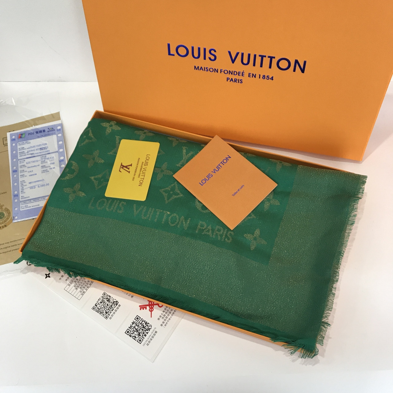 Платок, шаль палантин Луи Витон изумруд с люрексом качеством ААА
