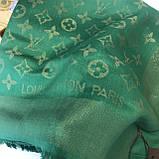 Платок, шаль палантин Луи Витон изумруд с люрексом качеством ААА, фото 4