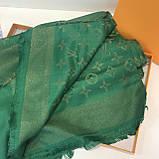 Платок, шаль палантин Луи Витон изумруд с люрексом качеством ААА, фото 7