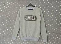 """Толстовка женская теплая на флисе """"Smile"""" - светло-серый, фото 1"""