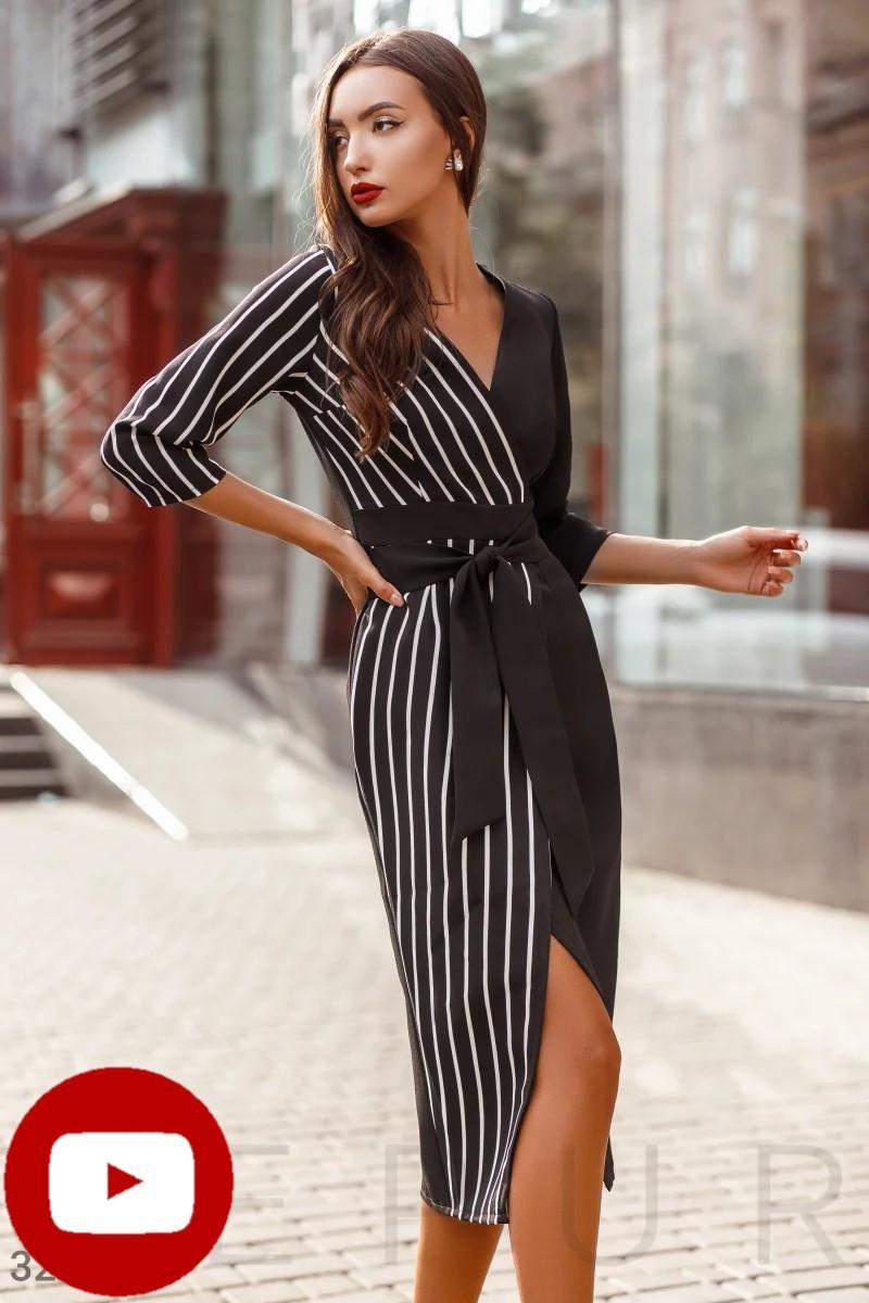 Осеннее платье миди на фиксируемый запах со сьемным однотонным поясом цвет черно-белый
