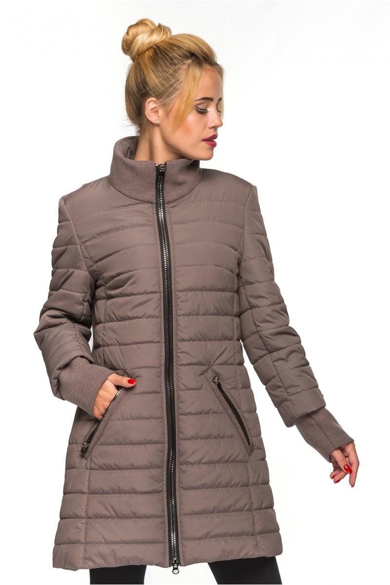 Молодежная удлиненная куртка Тамила мокко (44-52)