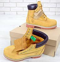 Ботинки мужские Timberland  нубуковые желтые без меха тимберленд