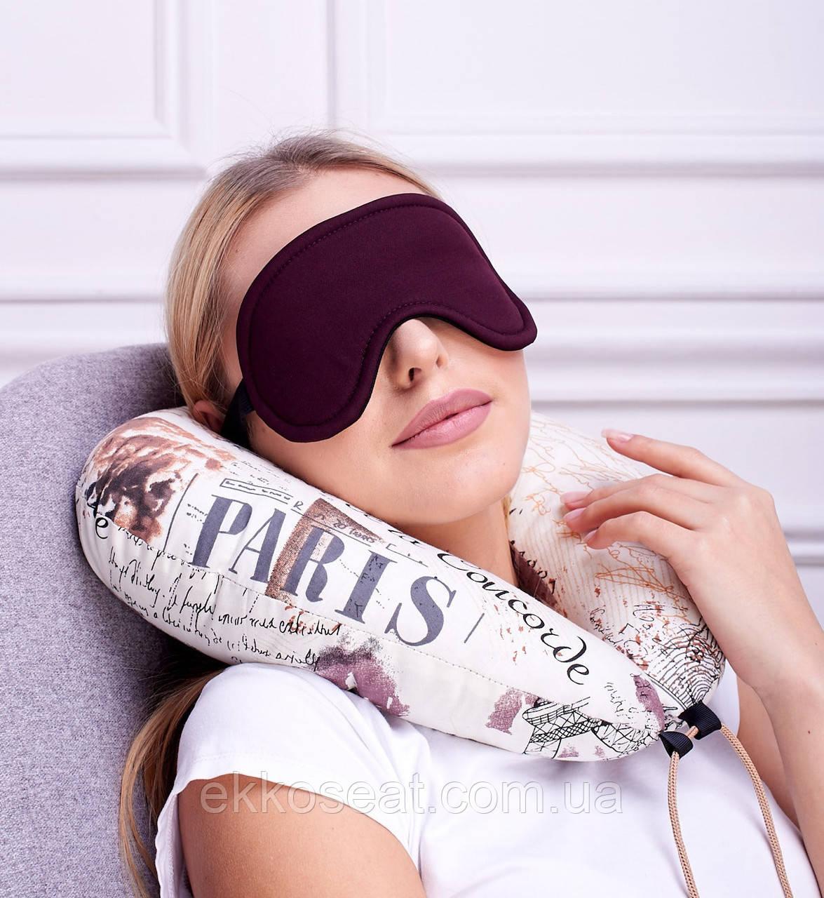 Подушка для путешествий EKKOSEAT дорожная для шеи с маской. Париж. Бинарная с велюровой вставкой под шею