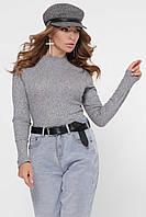 Трикотажное женское боди с длинным рукавом серый BK-7695-4