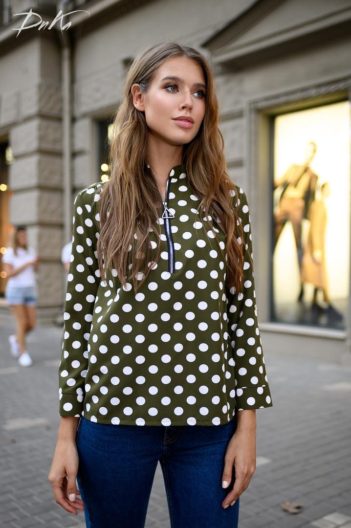 Женская модная блузка на молнии  ДГс41325/1 (норма / бат)
