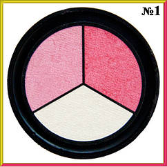 Тени для Век Qianyu MS 1203 Трехцветные Матовые Белые и Розовые Тон 01