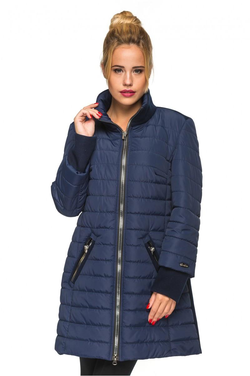 Удлиненная женская  куртка Тамила синий (44-52)