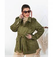 Женская демисезонная куртка с двойными лацканами №705Б-хаки