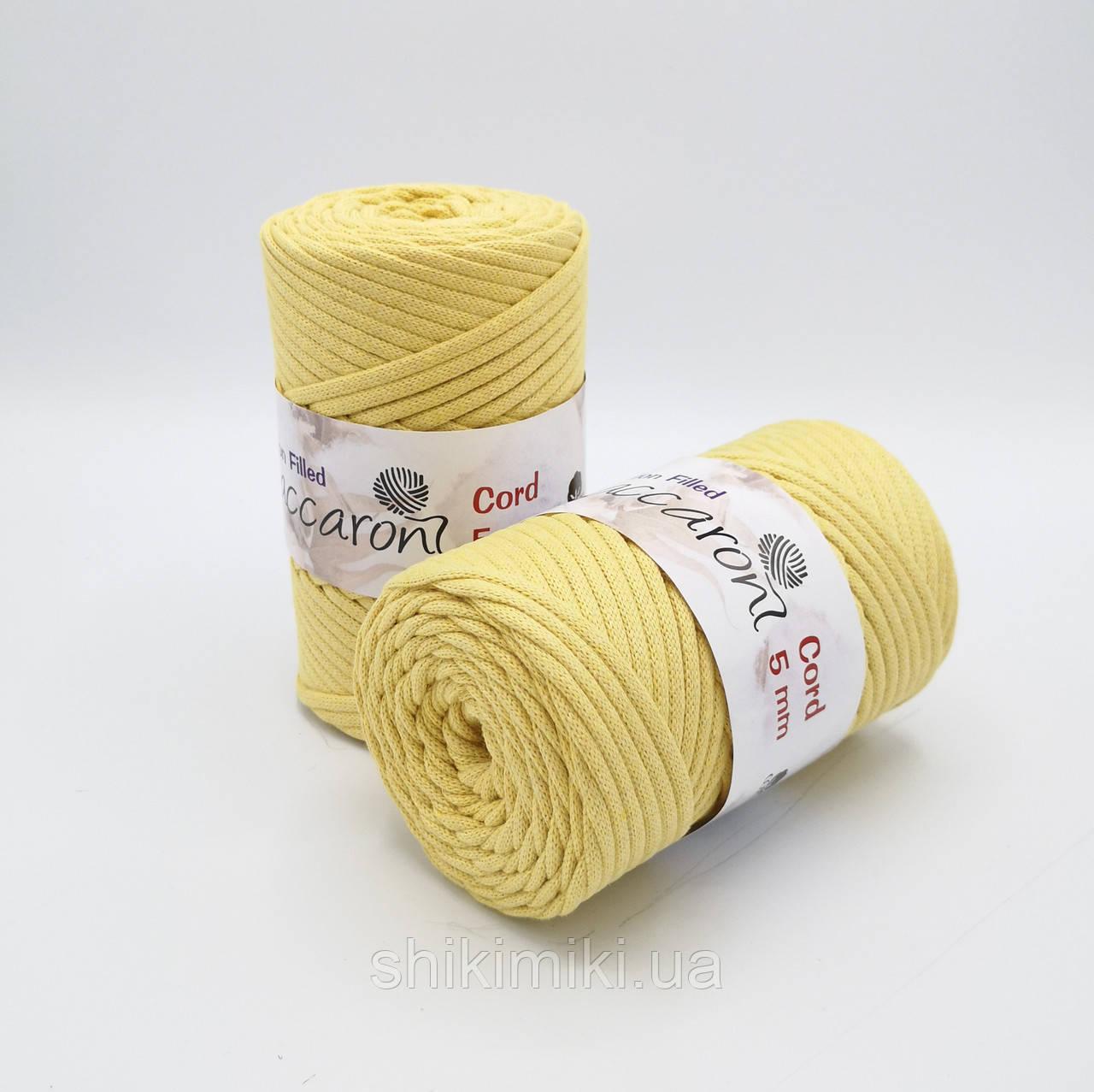 Трикотажный хлопковый шнур Cotton Filled 5 мм, цвет Желтый