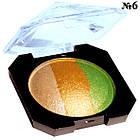 Тени для Век Laviar Запеченные Трехцветные Компактные Тон 06 Песочные Золотистые Салатовые, фото 2