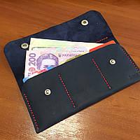 Мужской кошелек черный из натуральной кожи ручной работы Revier с красной ниткой для денег
