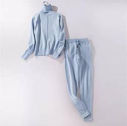 Теплый модный женский костюм двойка голубого цвета размер S/M
