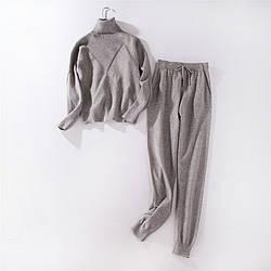 Стильный женский повседневный костюм серый размер S/M