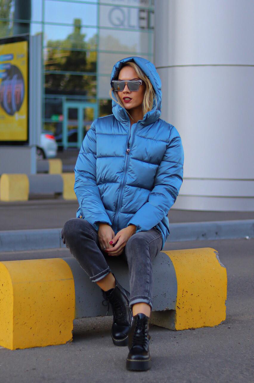 Куртка стильная женская осень-зима. Цвет: синий, розовый
