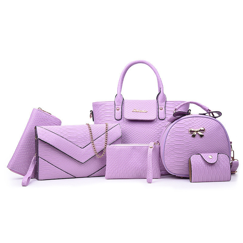 Женская сумка набор 6в1 светло фиолетовая из экокожи