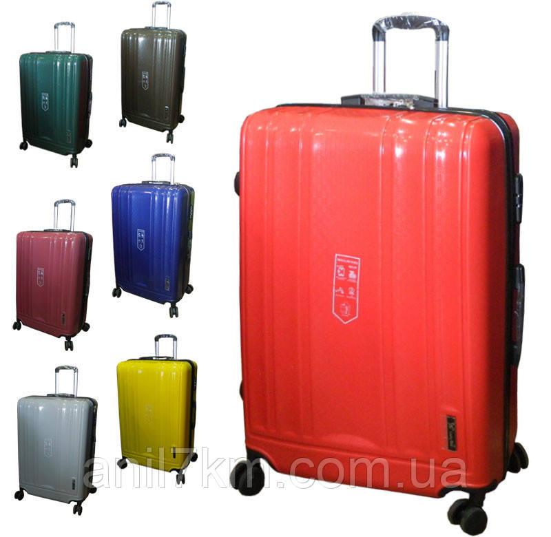 Великий чемодан з поліпропілену на чотирьох колесах Lucky Bird