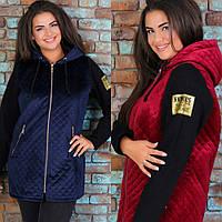 Куртка женская, большого размера, демисезонная, с капюшоном, на молнии, с карманами, удлиненная, модная