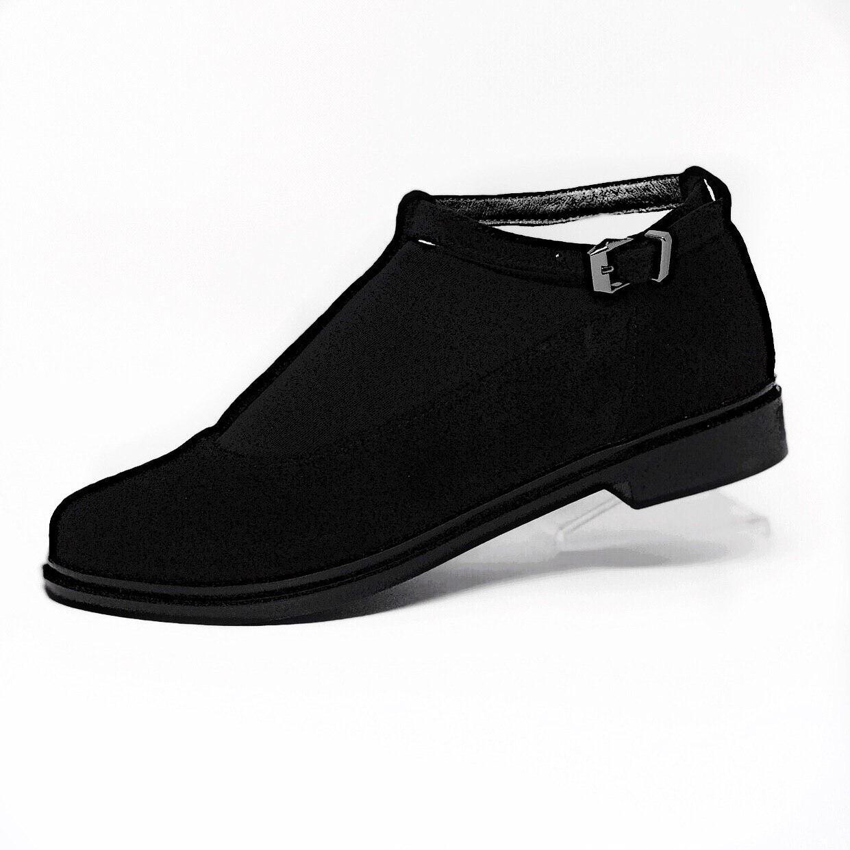 Женские черные туфли на низком каблуке натуральная замша
