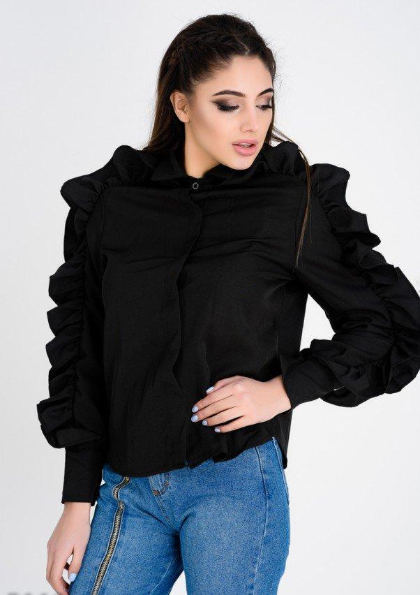 Черная женская рубашка с объемными необычными воланами по линии рукавов S