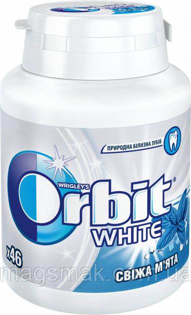 Жевательная резинка Orbit White Freshmint Свежая мята без сахара в бутылке 46 подушечек