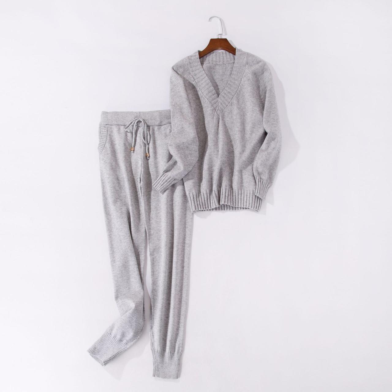 Женский удобный красивый осенний костюм кофта и штаны серый размер S/M