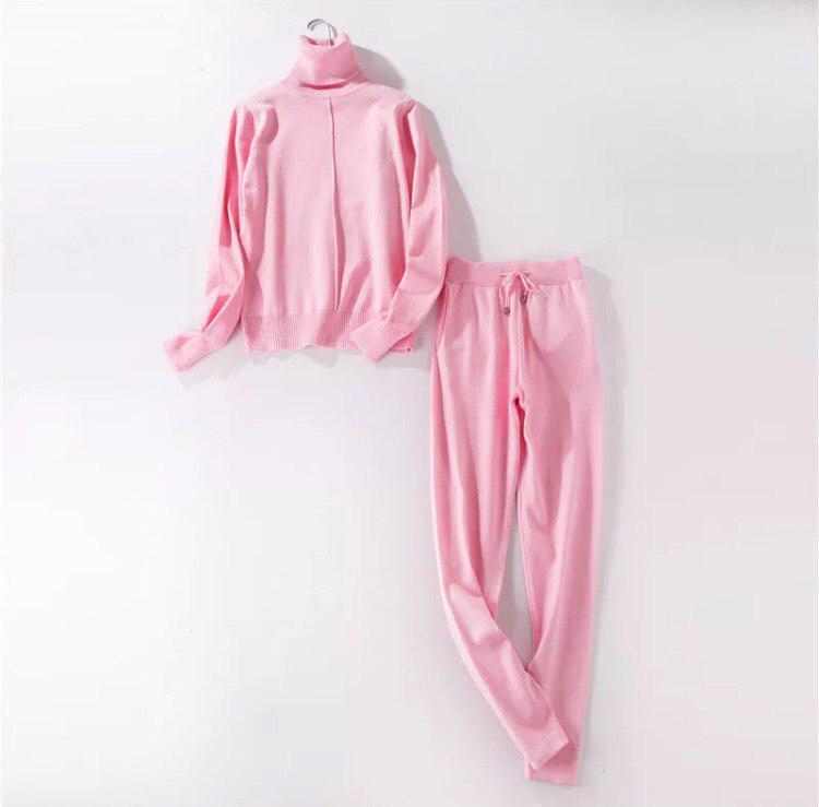 Розовый модный осенний женский костюм кофта и штаны размер S/M