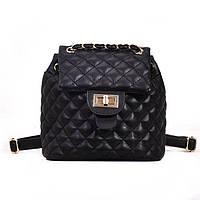 Рюкзак-сумка мини городской женский стёганный в стиле Ша*нель черный