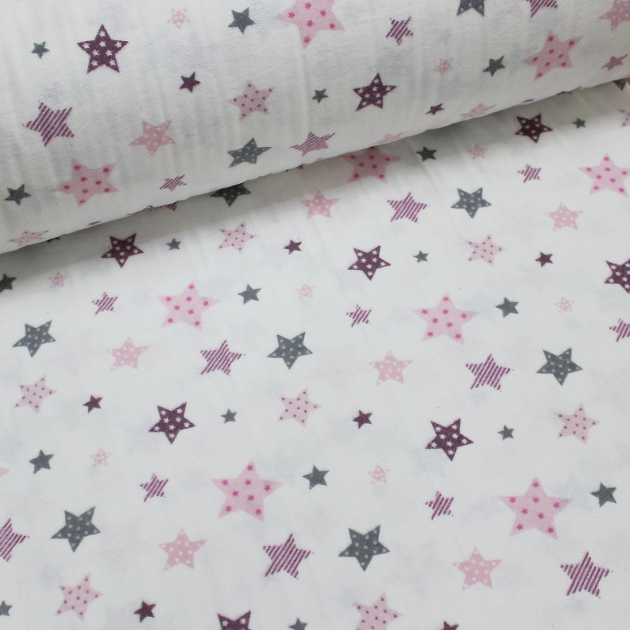 Фланелевая ткань (ТУРЦИЯ шир. 2,4) Звездопад розово-серый на белом