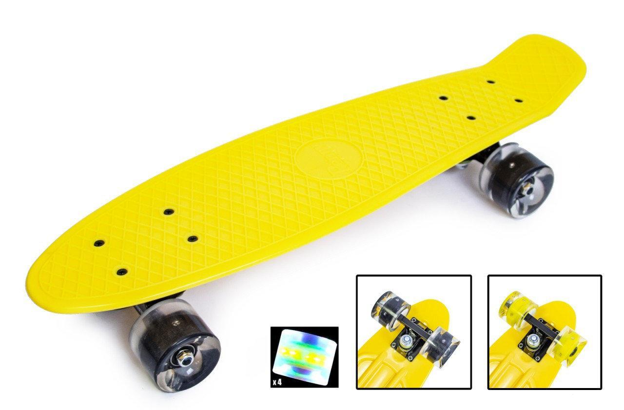 """Скейт """"Penny Board"""". Желтый цвет. Светящиеся колеса."""