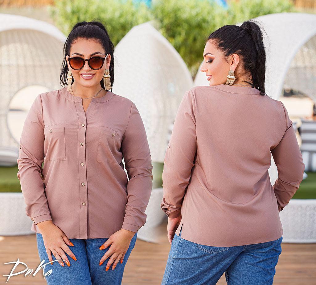 Женская модная блузка с карманами  ДГс536 (бат)