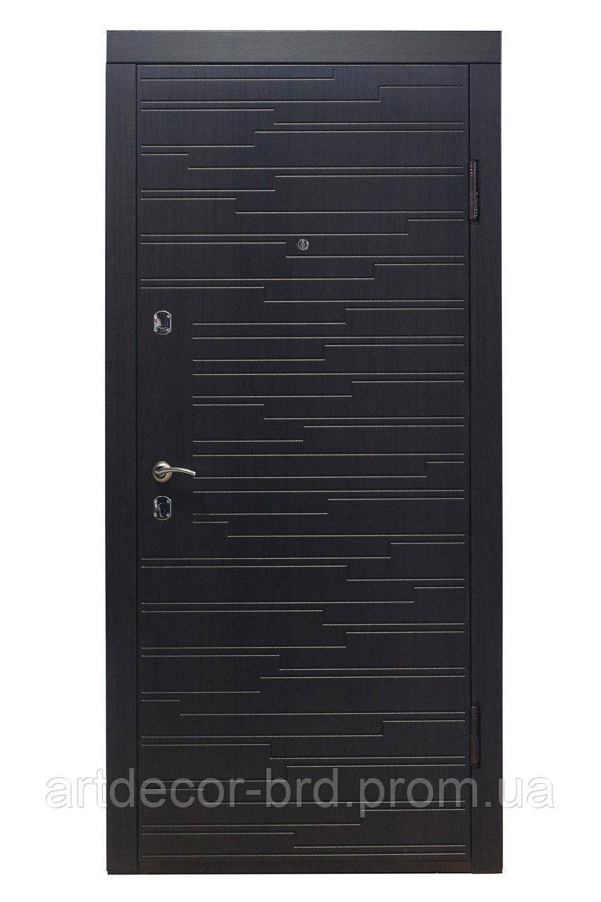 Дверь ПО-66 МДФ/МДФ венге горизонт темный Термопал (с круглой ручкой) 960 R