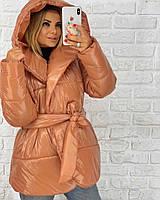 Короткая лаковая куртка-одеяло с капюшоном 3KU182, фото 1