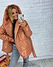 Короткая лаковая куртка-одеяло с капюшоном 3kr182, фото 4