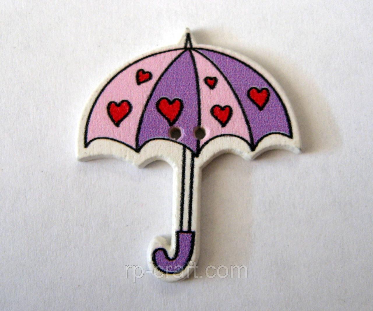 Дерев'яний ґудзик, парасолька, 31х35 мм